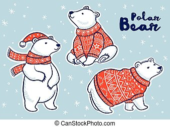 Christmas sticker set with polar bears - Stiker collection...