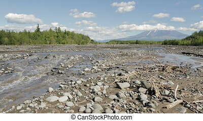 Studenaya River and the volcano Tolbachik stock footage...