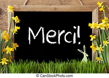 Narcissus, Easter Bunny, Merci Means Thank You - Blackboard...
