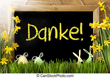 Sunny Narcissus, Easter Egg, Bunny, Yellow Danke Means Thank...
