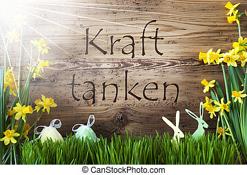 Sunny Easter Decoration, Gras, Kraft Tanken Means Relax -...