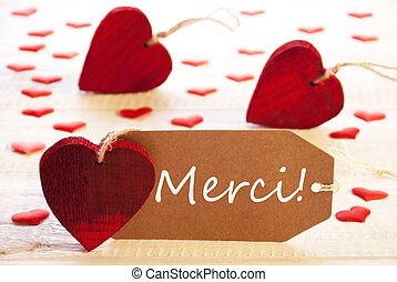 Label With Many Red Heart, Merci Means Thank You - Label...