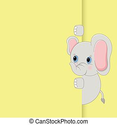 Cute baby elephant peeking out - Scalable vectorial image...
