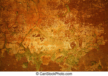 Rustic background. Orange - red bright wall with cracks -...