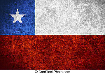 flag of Chile or Chilean banner on scratched vintage texture