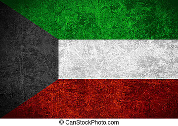 flag of Kuwait or Kuwaiti banner on scratched vintage...