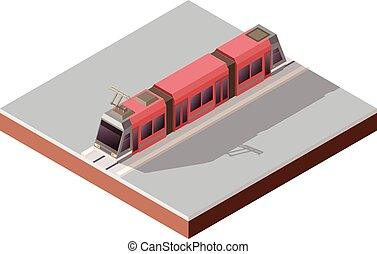 Isometric light train on the rails - Vector image of the...