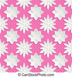 Paper cut flowers background. Origami vector floral pattern....