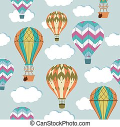 Vintage balloons seamless pattern. Retro hot air cartoon airship background