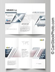 Tri-fold brochure business templates on both sides. Easy editable vector layout in flat design. Simple monochrome geometric pattern. Abstract polygonal style, stylish modern background.