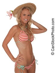 Bikini Girl in Hat - pretty bikini girl in straw hat and...