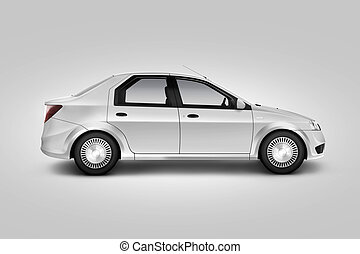 Blank white car design mockup, isolated, side view, clipping...