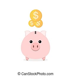 Piggy bank with falling coins. Vector illustration. - Pink...