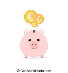 Piggy bank with gold euro coins illustration.
