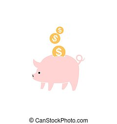 Piggy bank with falling coins illustration. - Pink piggy...