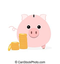 Piggy bank with coins. Vector illustration.