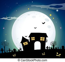 Haunted house in the field on fullmoon night