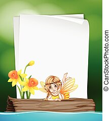 Paper template with fairy on log illustration