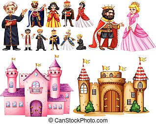 Royal palace and different characters illustration