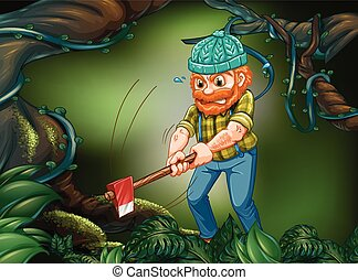 Lumber jack chopping wood in the forest illustration