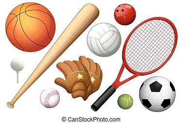 Different types of sport equipments