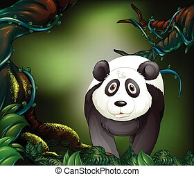 Panda in a rain forest illustration
