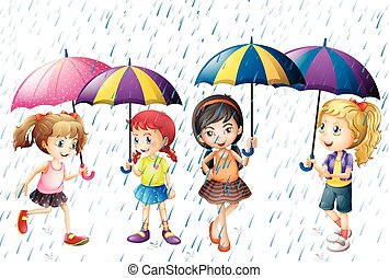 Four kids with umbrella being in the rain