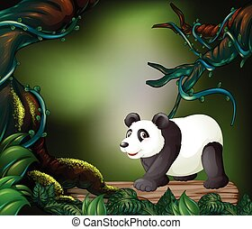 Wild panda in the forest