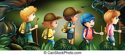 Five kids hiking in the woods illustration