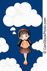 Little girl standing on fluffy clouds background