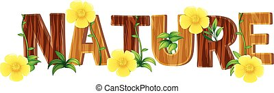 Font design for word nature with yellow flowers