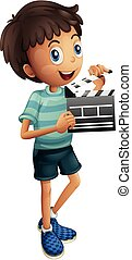Little boy holding clapboard illustration