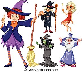 Fairytales set with witch and wizard illustration