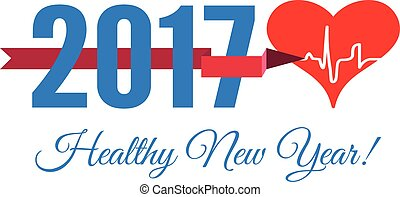 Congratulations to the healthy new year with a heart and cardiogram. Vector illustration