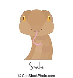 vector snake head isolated. Flat style, cartoon object