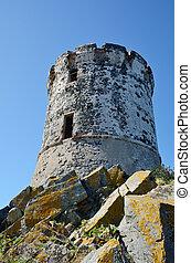 Ancient Genoese tower - Headland Pointe de la Parata with...