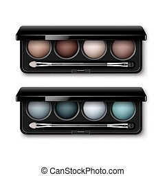 Set of MultiColored Eye Shadows, Makeup Applicator