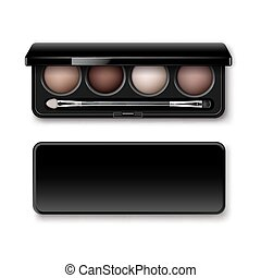 Pastel Brown Eye Shadows in Case with Makeup Brush