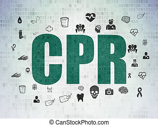 Health concept: CPR on Digital Data Paper background -...