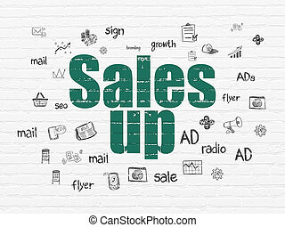 Marketing concept: Sales Up on wall background
