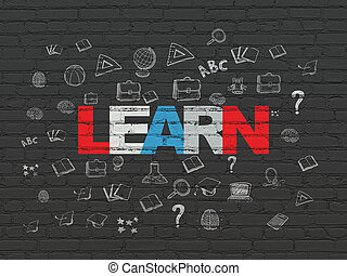 Learning concept: Learn on wall background - Learning...