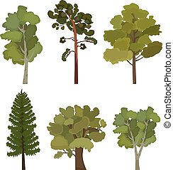 set of flat trees for infographics in vector format eps10