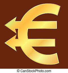 Golden euro sign with two arrows like pointers. Vector...