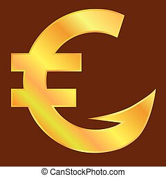 Golden euro sign  with hook. Vector illustration.