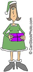 Female Christmas elf holding a package