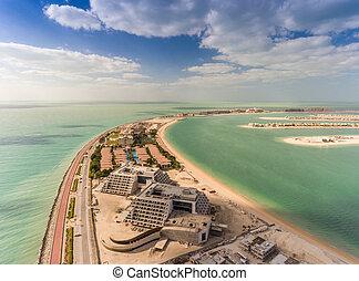 Aerial view of Palm Jumeirah Island, Dubai