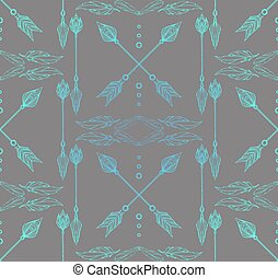 Boho Seamless texture with doodle arrows and feathers....