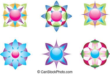 géométrique, icônes, 3