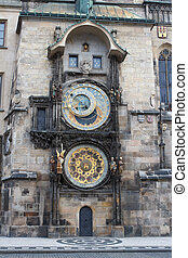 Exterior view of the astronomical clock in Prague. Czech...