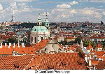View of the Cathedral of St. Nicholas in Mala Strana Prague....